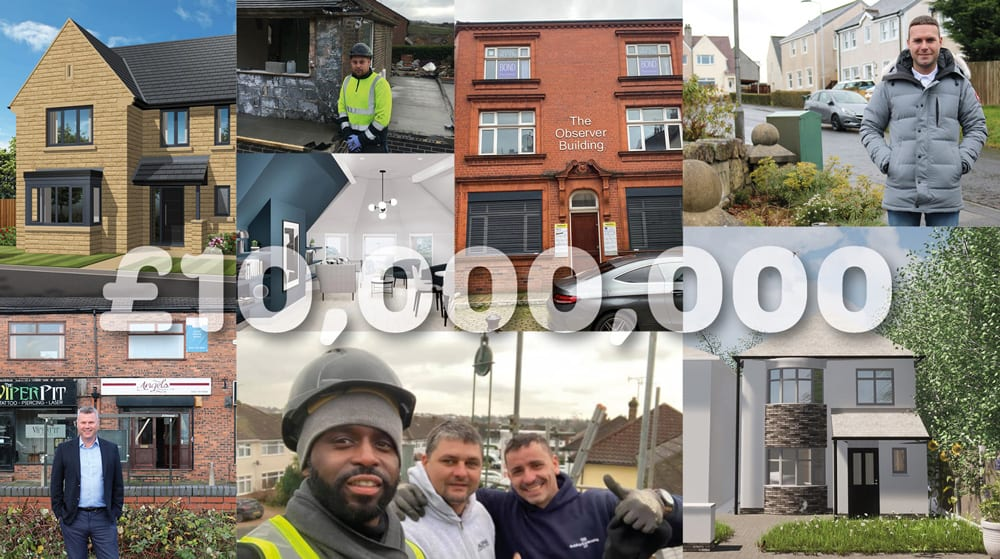 Collage of franchise projects with £10,000,000 million text over it.