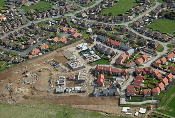 Site of newly build homes and development land
